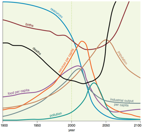 """Figure 5. Base scenario from 1972 Limits to Growth, printed using today's graphics by Charles Hall and John Day in """"Revisiting Limits to Growth After Peak Oil"""" http://www.esf.edu/efb/hall/2009-05Hall0327.pdf"""