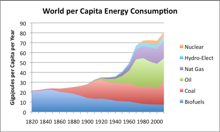 Distribución del consumo mundial energético per cápita detallado por fuentes de energía. Fuente: The Energy Collective