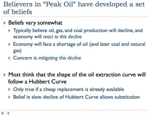 13 Believers in peak oil