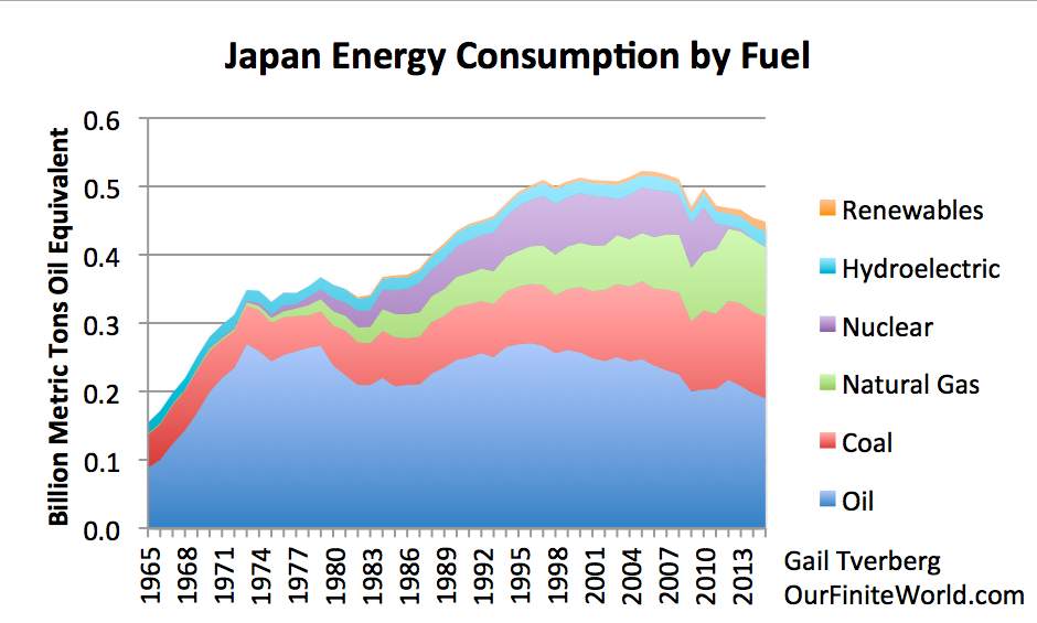 Japan's energy consumption by fuel