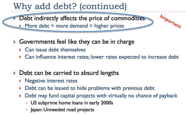 21. Debt helps determine prices of commodities