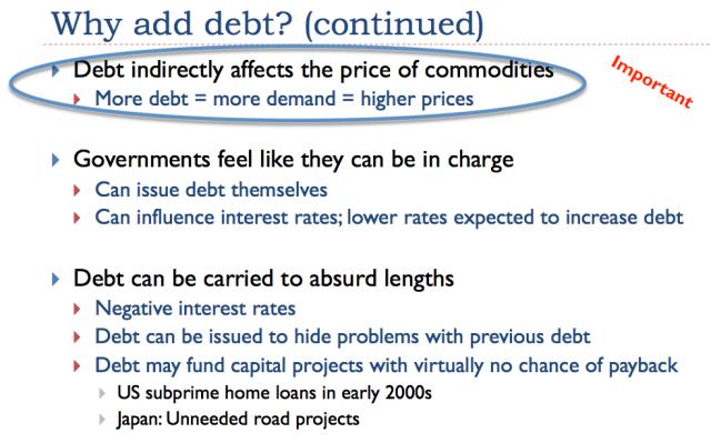 21. Debt helps determine prices of commodities