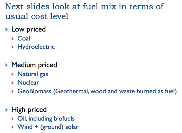 Appendix, Figure 1. Slide showing groupings of low, medium, and high priced fuels.