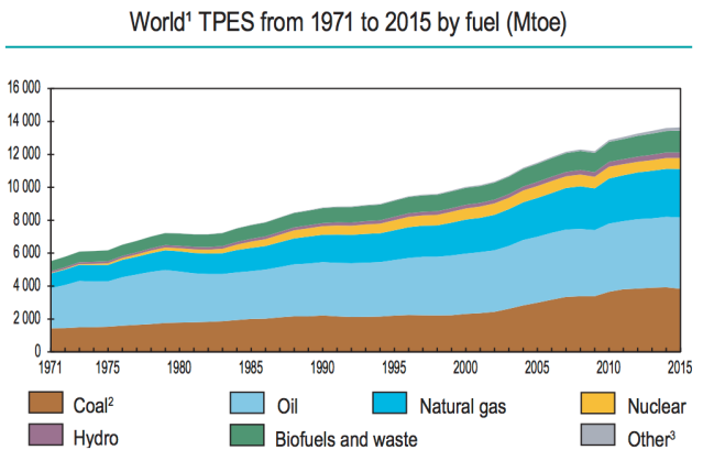 total primary energy supply by fuel, from IEA