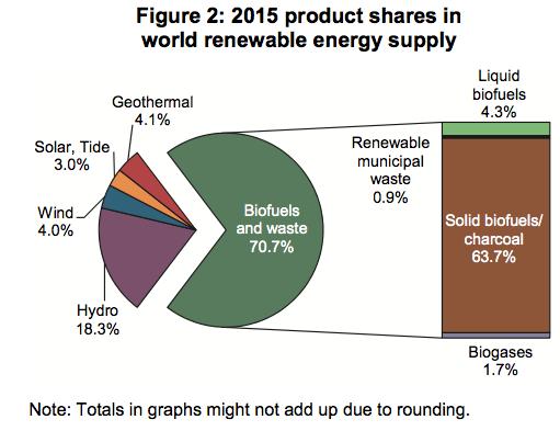 IEA figure of sources of world renewable energy supply
