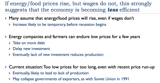 29 if energy and food prices rise but wages do not economy less efficient
