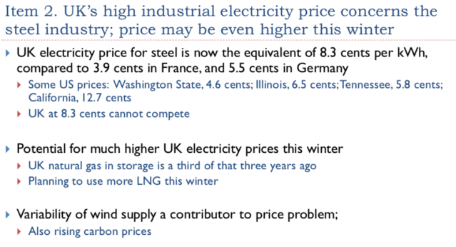 12. Steel industry concern about rising electricity costs 1